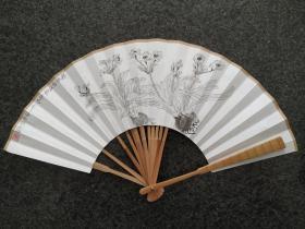 書法扇子,水仙  韋俊川