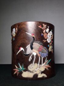 檀木镶嵌多宝笔筒 1580直径16.5厘米 高17厘米,重1250克