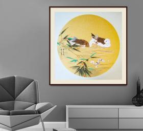 当代著名青年画家赵永夫精品花鸟卡板作品,带框