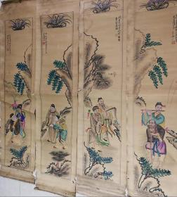彩色手绘作者原作原稿手稿画的八仙人物图胶东民俗年画四条屏包老保真