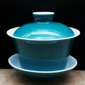 上海博物馆1962孔雀绿釉三才杯,盖碗