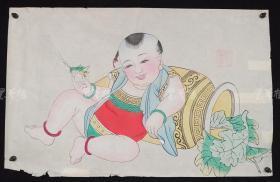 杨柳青精制 老年画《童子逗蛐图》一幅 HXTX313245