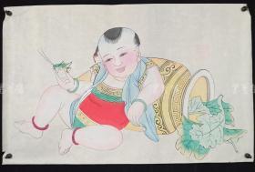 杨柳青精制 老年画《童子逗蛐图》一幅 HXTX313247