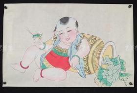 杨柳青精制 老年画《童子逗蛐图》一幅 HXTX313248