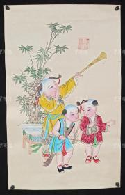 杨柳青精制 老年画《童子送春图》一幅 HXTX313252