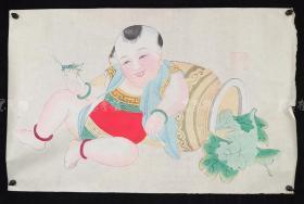 杨柳青精制 老年画《童子逗蛐图》一幅 HXTX313253