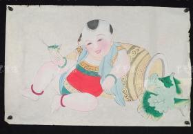 杨柳青精制 老年画《童子逗蛐图》一幅 HXTX313263
