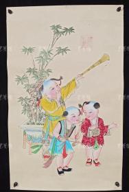 杨柳青精制 老年画《童子送春图》一幅 HXTX313264