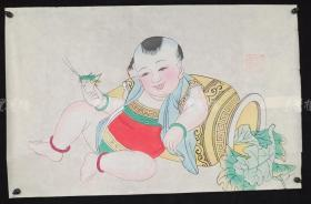 杨柳青精制 老年画《童子逗蛐图》一幅 HXTX313244