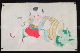 杨柳青精制 老年画《童子逗蛐图》一幅 HXTX313250