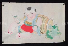 杨柳青精制 老年画《童子逗蛐图》一幅 HXTX313254