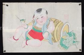 杨柳青精制 老年画《童子逗蛐图》一幅 HXTX313261