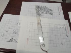 登州府蓬莱县自治区域图甲乙丙3张【该地最早的按比例尺绘制的地图】