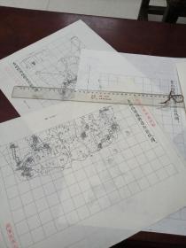 青州府诸城县自治区域图甲乙丙3张【该地最早的按比例尺绘制的地图】
