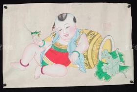 杨柳青精制 老年画《童子逗蛐图》一幅 HXTX313249