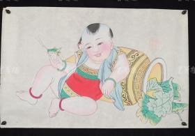 杨柳青精制 老年画《童子逗蛐图》一幅 HXTX313251