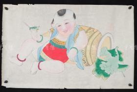 杨柳青精制 老年画《童子逗蛐图》一幅 HXTX313262
