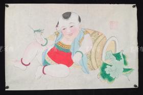 杨柳青精制 老年画《童子逗蛐图》一幅 HXTX313265