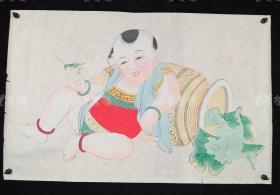 杨柳青精制 老年画《童子逗蛐图》一幅 HXTX313266