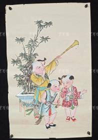杨柳青精制 老年画《童子送春图》一幅 HXTX313267