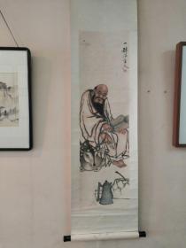 清代瑞安著名画家林纯贤人物挂轴165cm,画心111x31.5
