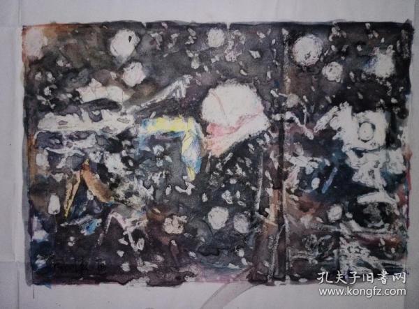 《呼唤世界和平之雪中记者》周振熠新世纪系列彩色水彩,腊笔画