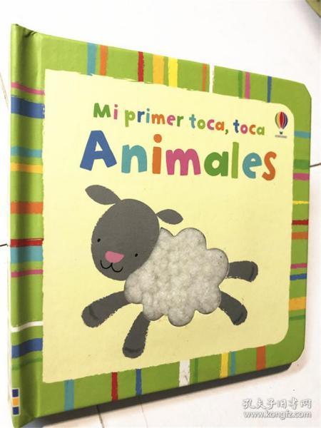 儿童小语种原版低幼纸板触摸书 animales 西班牙语 动物单词书