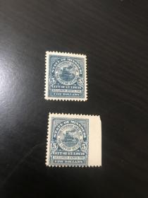 美国古典老邮票 5美元高值 漏齿变体 美国古典老邮票 地方政府附票 最早的轮船圆图5美元高值 新票 一枚正票 一枚宽边漏齿 有背胶 保存很好 极少见 没查到