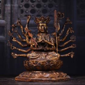 纯铜鎏金十八臂准提菩萨造像 高28cm   宽30cm   厚21cm 重4510克 900元