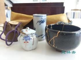 两百年古董  茶箱点前 了入作 乐烧小茶碗 金缮修补 备前茶入 青花闻香杯 日本茶道具极品收藏