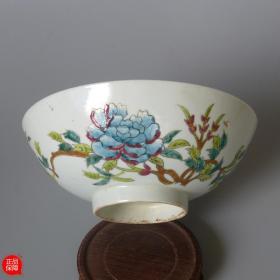 包老民国 粉彩老瓷器 名家黄锦丰造硬粉彩花卉大碗 真品古玩老货