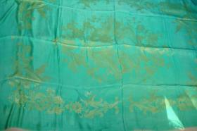 被面绸缎80年代绿色真丝软缎被面【龙凤呈祥】老货