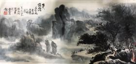 """温州著名画家陈洙龙山水 """"雁荡雾霭""""91x39cm"""