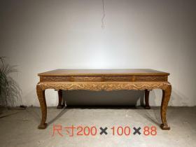 花梨木大画案,可做茶桌,雕刻二龙戏珠大画案, 做工精细,雕刻漂亮,品相完好尺寸如图