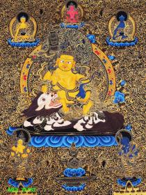 尼泊尔高端手绘《财宝天王》唐卡手绘布本。采用真金描线,天然矿石颜料着色晕染,画工细腻,开脸殊胜,是难得一见的好唐卡作品。