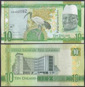 冈比亚 10达拉西纸币 2015年 外国钱币