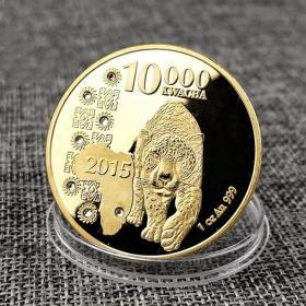 非洲赞比亚纪念币镶钻金钱豹金币 豹子动物非洲豹纪念币外币硬币