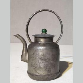 清代老锡壶满工刻花花鸟富贵图古玩老茶壶白锡茶具