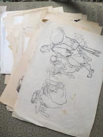 湖北美术学院教授叶军八十年代初期速写80余页(散页) 可惜只有一张落款