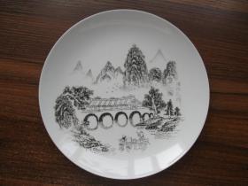 桂林山水盘桂林花桥刻绘 瓷盘