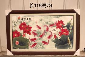 鸿运当头红木手绘年年有余瓷板画,画工优美,品相一流,保存完整,尺寸如图