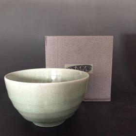 日本 信乐烧 明山窑 青釉抹茶碗