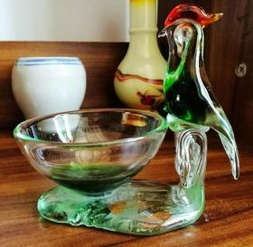 【满百包邮】怀旧收藏 七八十年代 早期手工玻璃烟缸 鸟造型 13*13cm 直径9.5cm