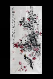 新晋中美协画家王辉老师《园梅虽未老痩影已可人》三尺竖幅国画花鸟,保真销售,一图一拍所见即所得!王辉老师市场价格约为500元/平尺,本画面约5个平尺。