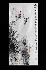 新晋中美协画家王辉老师《凉风起江海万树尽秋声》三尺竖幅国画花鸟,保真销售,一图一拍所见即所得!王辉老师市场价格约为500元/平尺,本画面约5个平尺。