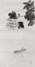 国画《菊花螳螂图》