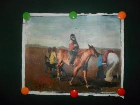 (上世纪八十年代-九十年代,手绘)油画《草原,牧马人》(0006)