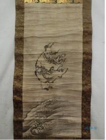 水墨仙人图 日本江户古画挂轴 清代