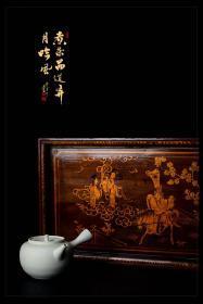 民国古董漆器茶器茶具收藏义泰号茶庄出品天仙配仙女下凡茶盘包邮