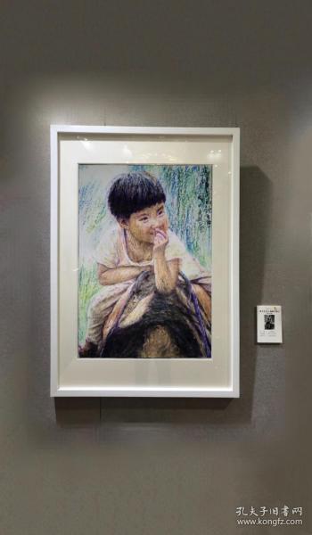 《牛背上的顽童》2001年周振熠,腊笔,综合材料绘画